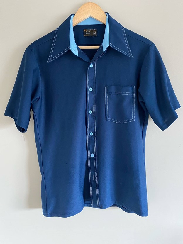 Bold blue collared short sleeve shirt