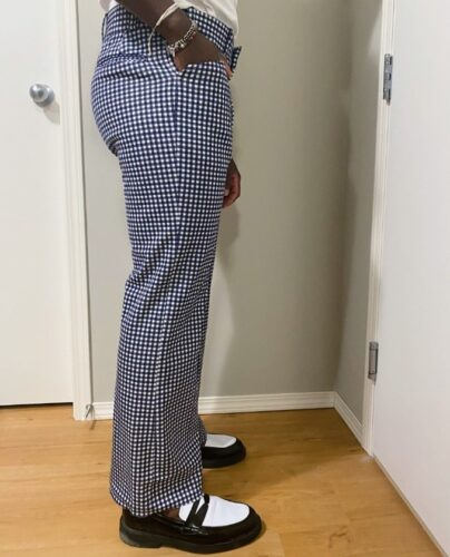 Thrifted flared checkered-patterned pants