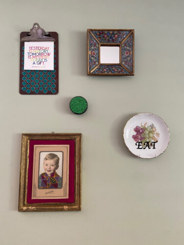 Vintage plate wall art hanging with photo graph, quote and mirror
