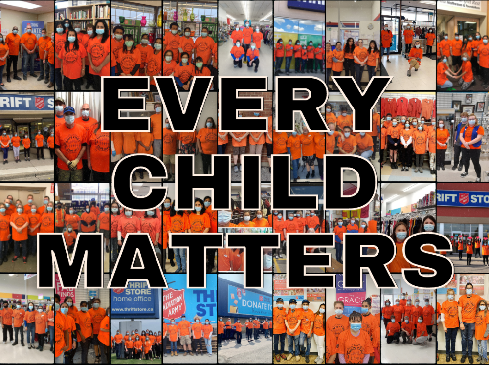 Thrift Store team wearing orange shirts for National Day of Truth and Reconciliation